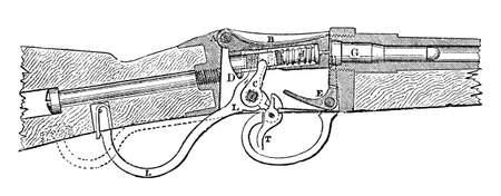 Victorian engraving of a diagram of a rifle. Digitally restored image from a mid-19th century Encyclopaedia. Stok Fotoğraf
