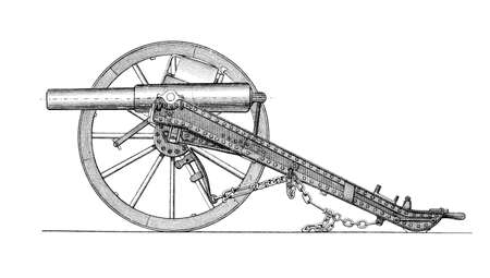 artillery: Victorian engraving of a cannon. Digitally restored image from a mid-19th century Encyclopaedia. Stock Photo