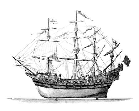 warship: 19th century engraving of an English warship (Great Harry)