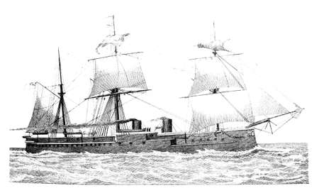 warship: 19th century engraving of an English Warship (Alexandria)