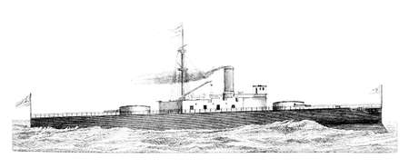 destroyer: 19th century engraving of an English warship (Trafalgar)