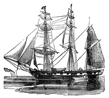 barque: Victorian engraving of a sailing barque. Digitally restored image from a mid-19th century Encyclopaedia. Stock Photo