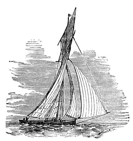 cutter: Victorian engraving of a cutter. Digitally restored image from a mid-19th century Encyclopaedia. Stock Photo