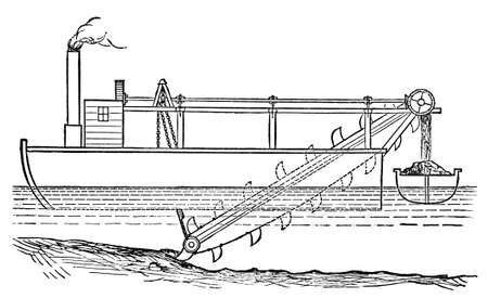 dredger: Victorian engraving of a steam dredger. Digitally restored image from a mid-19th century Encyclopaedia.