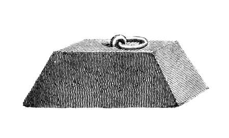 restored: Victorian engraving of an anchor weight. Digitally restored image from a mid-19th century Encyclopaedia.