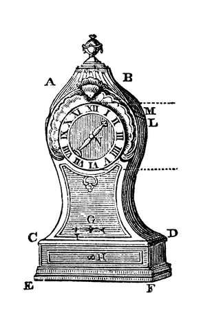 19 eeuwgravure delen van een klok