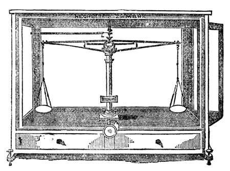 Victorian engraving of a chemical balance. Digitally restored image from a mid-19th century Encyclopaedia.