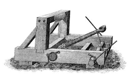 catapult: Victorian engraving of a medieval catapult. Digitally restored image from a mid-19th century Encyclopaedia.