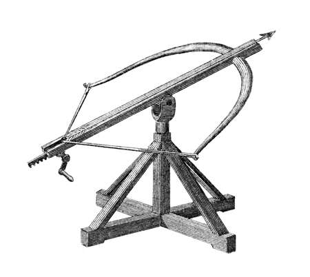 restored: Victorian engraving of a medieval ballista. Digitally restored image from a mid-19th century Encyclopaedia.