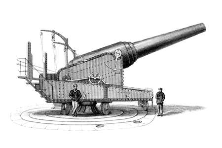 restored: Victorian engraving of an artillery cannon. Digitally restored image from a mid-19th century Encyclopaedia.