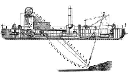 19th century engraving of a sea floor steam dredger