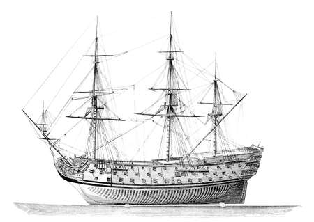admiral: 19th century engraving of an English warship (Admiral Duperre)