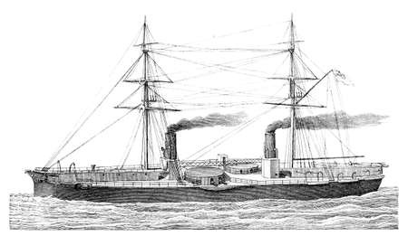 inflexible: 19th century engraving of an English warship (Inflexible)