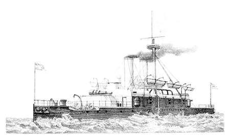 warship: 19th century engraving of an English Warship (Collingwood)