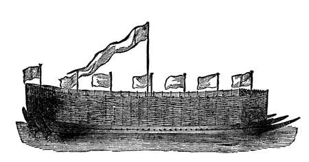 historical ship: Victorian engraving of a river barge
