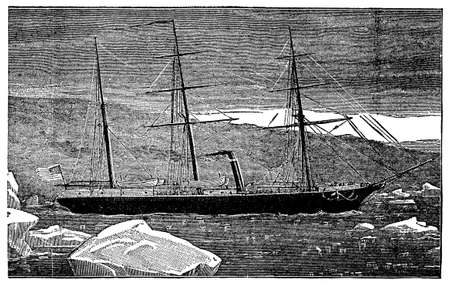 Victorian engraving of a steamship in the Arctic Фото со стока