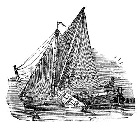 Victorian engraving of a sail barge. Digitally restored image from a mid-19th century Encyclopaedia.