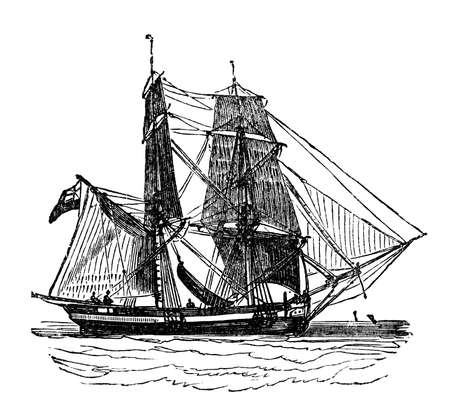 restored: Victorian engraving of a brig. Digitally restored image from a mid-19th century Encyclopaedia. Stock Photo