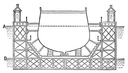 drydock: Victorian engraving of a diagram of a dry dock. Digitally restored image from a mid-19th century Encyclopaedia.