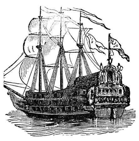 Victorian engraving of a galleon. Digitally restored image from a mid-19th century Encyclopaedia.