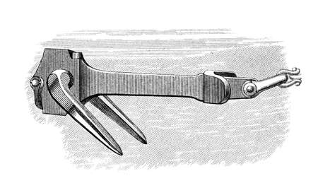 restored: Victorian engraving of an anchor. Digitally restored image from a mid-19th century Encyclopaedia. Stock Photo