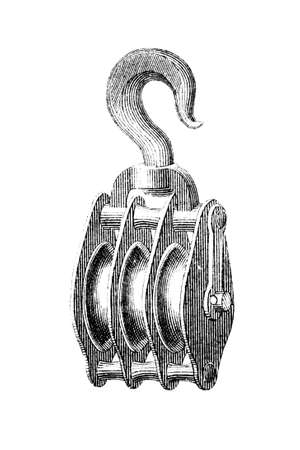 pulley: 19th century engraving of a pulley or block