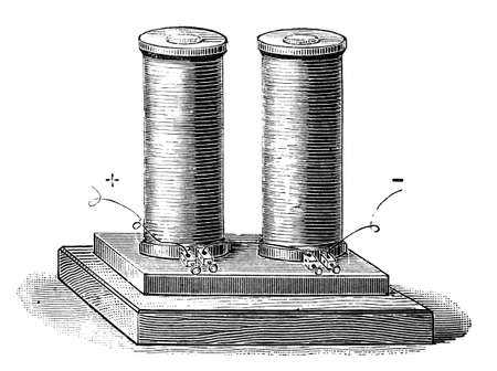 19th: 19th century engraving of an electromagnet