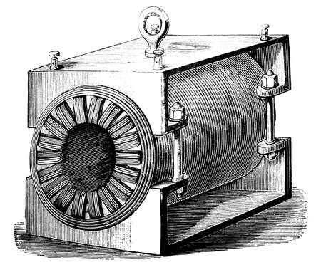 19th century engraving of an antique transformer
