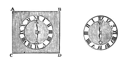 19th century engraving of clock faces