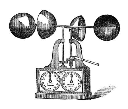 restored: Victorian engraving of an anemometer. Digitally restored image from a mid-19th century Encyclopaedia.
