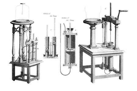 Victorian engraving of air pumps. Digitally restored image from a mid-19th century Encyclopaedia. Stok Fotoğraf