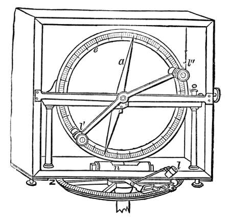 dip: Victorian engraving of a dip circle tool. Digitally restored image from a mid-19th century Encyclopaedia. Stock Photo