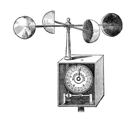 late 19th century drawing of an anemometer Stok Fotoğraf