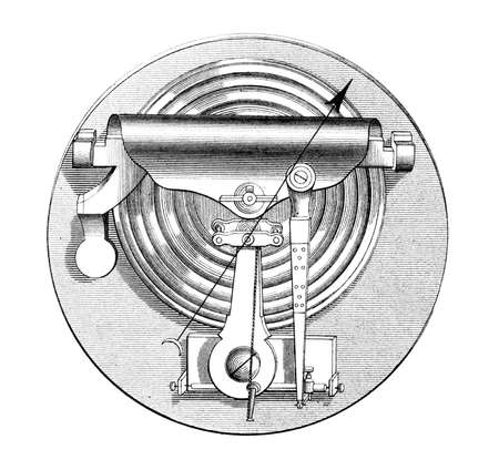 Victorian engraving of a barometer. Digitally restored image from a mid-19th century Encyclopaedia. Stok Fotoğraf