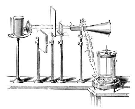 과학 실험의 19 세기 조각 스톡 콘텐츠