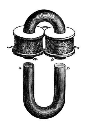 전자석의 19 세기 조각 스톡 콘텐츠
