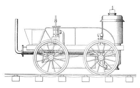 Victorian engraving of a steam train Banco de Imagens
