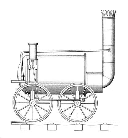 steam train: Victorian engraving of a steam train Stock Photo