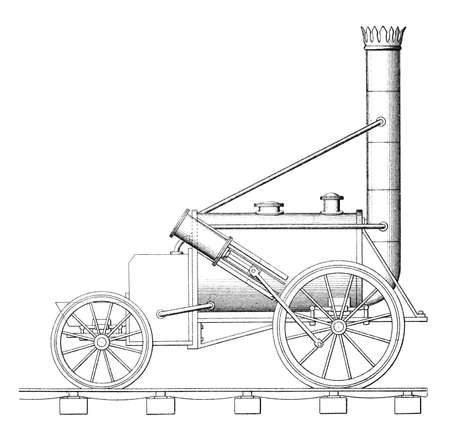 Victorian engraving of a steam engine