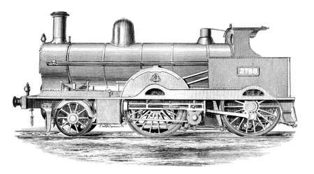Victorian engraving of a steam train Stok Fotoğraf
