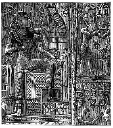 victorian engraving of ancient Egyptian relief.  Digitally restored from a late 19th Century encyclopedia. Reklamní fotografie - 98238637