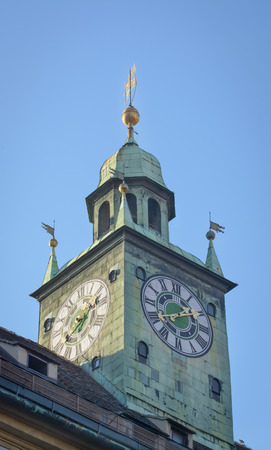 Tower clock in Graz in a vertical format Stock Photo