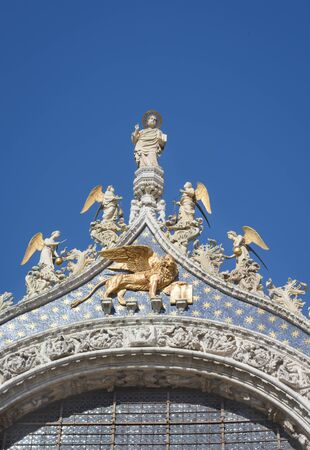 Top of the pediment of St. Marks Cathedral 스톡 콘텐츠