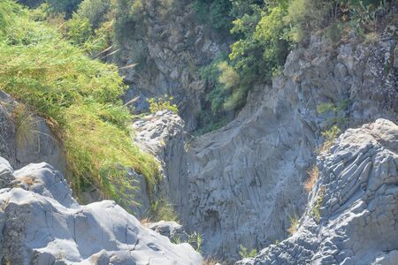 View of the cliffs in the gorge of Alcantara