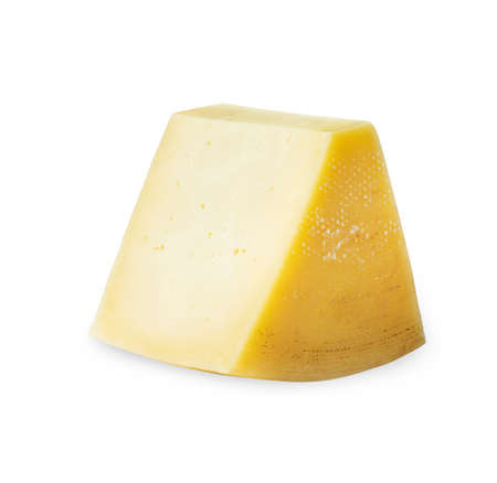 A piece of cheese circle on a white background
