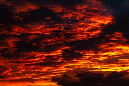 Red clouds at sunset close up