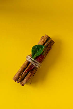 a bunch of cinnamon sticks on a colored background with red dried peppers and a green leaf. Water drops on cinnamon