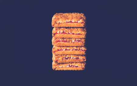Cookies in a stack isolated on black