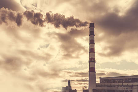 Factory with smokestack pulling out toxic steam Stok Fotoğraf - 157388592