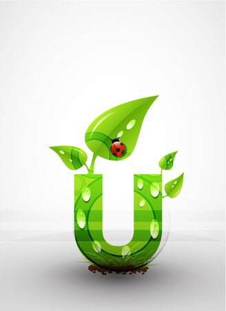 Vector green letter background photo